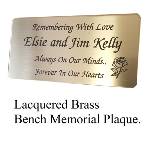 Lacquered Brass Bench Memorial Plaque
